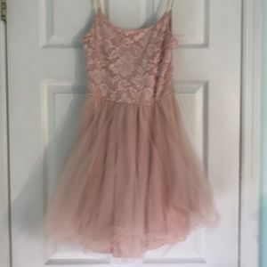 Light pink lace and tulle cocktail dress